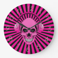 Pink Skull with Headphones Clock