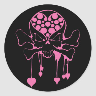PINK SKULL WITH HEARTS ROUND STICKERS