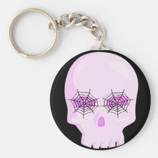 PINK SKULL WITH SPIDER WEB EYES KEYCHAIN