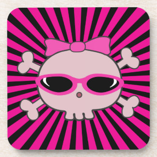 Pink Skull with Sunglasses Beverage Coaster