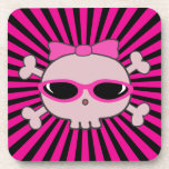 Pink Skull with Sunglasses Beverage Coasters