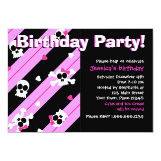 Pink Skulls and Hearts Birthday Party 5x7 Paper Invitation Card