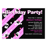 Pink Skulls and Hearts Birthday Party Custom Announcement