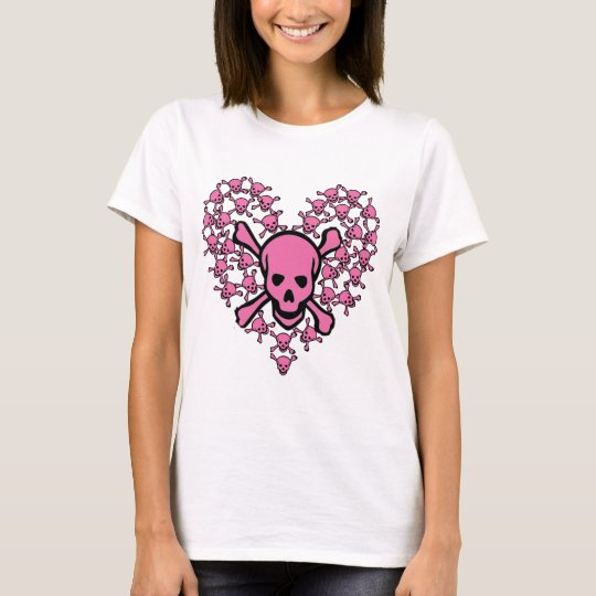 Pink Skulls in Heart Shape T-Shirt