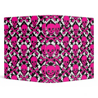 Pink Skulls & Stars zazzle_binder