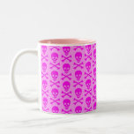 Pink Skulls Two-Tone Coffee Mug