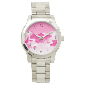 Pink sky and clouds wrist watch