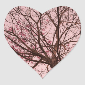 Pink Sky and Tree Branches Heart Sticker