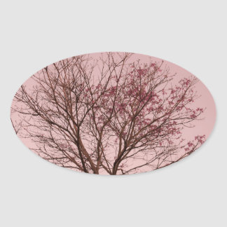 Pink Sky and Tree Photograph Oval Sticker