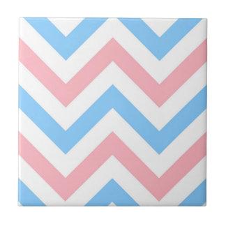 Pink, Sky Blue, White Large Chevron ZigZag Pattern Ceramic Tile