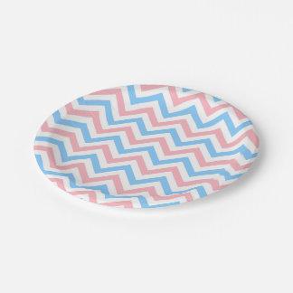 Pink, Sky Blue, White Large Chevron ZigZag Pattern Paper Plate