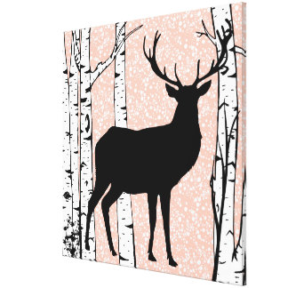 Pink Sky Buck Deer Birch Forest Wrapped Canvas