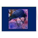 Pink Sky Crow Notecard Stationery Note Card