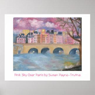 Pink Sky Over Paris Poster