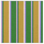 [ Thumbnail: Pink, Slate Blue, Green, Dark Goldenrod & White Fabric ]