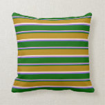 [ Thumbnail: Pink, Slate Blue, Green, Dark Goldenrod & White Throw Pillow ]