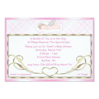 Pink Sleeping Angel Baby Shower Invitations