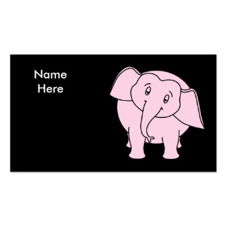 Pink Sleepy Elephant. Cartoon. Business Card