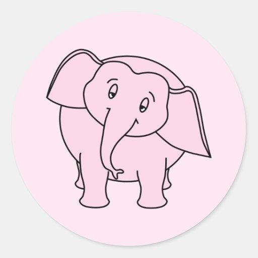Pink Sleepy Elephant. Cartoon. Classic Round Sticker