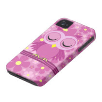 pink sleepy owl iPhone 4 case