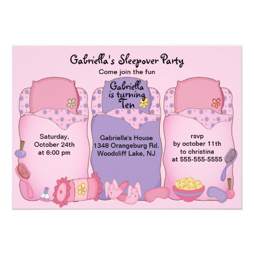 Pink Slumber Birthday Party Personalized Announcement