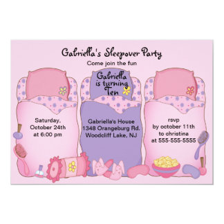 Pink Slumber Birthday Party 5x7 Paper Invitation Card