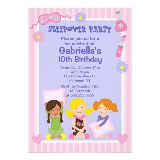Pink Slumber Party Fun Birthday Invitation