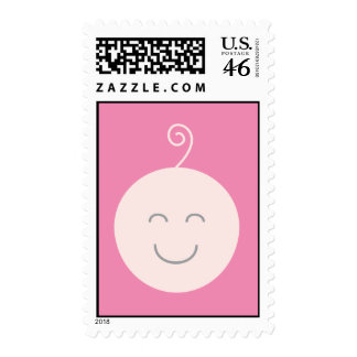 Pink Smile Baby Postage Stamp