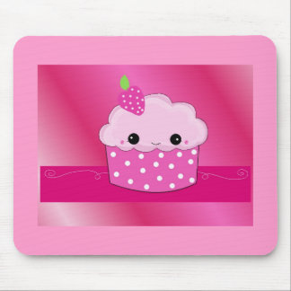 Pink Smiley Cupcake Mouse Pad