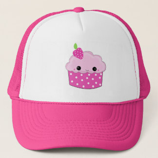 Pink Smiley Cupcake Trucker Hat