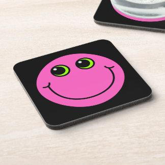 Pink Smiley Face Beverage Coaster