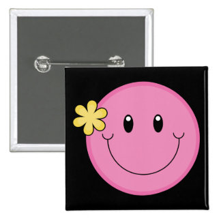 Pink Smiley Face Button