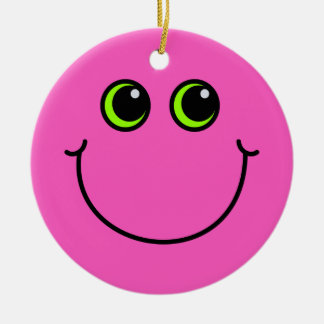 Pink Smiley Face Ceramic Ornament