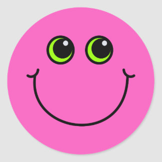 Pink Smiley Face Classic Round Sticker