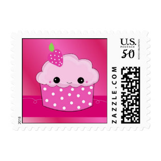 Pink Smiley Face Cupcake Postage