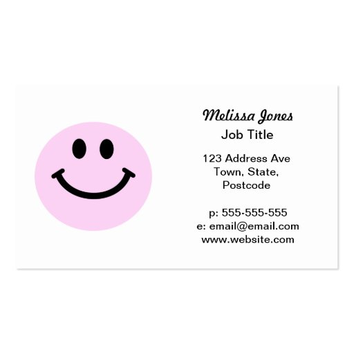 Pink smiley face Double-Sided standard business cards (Pack of 100)