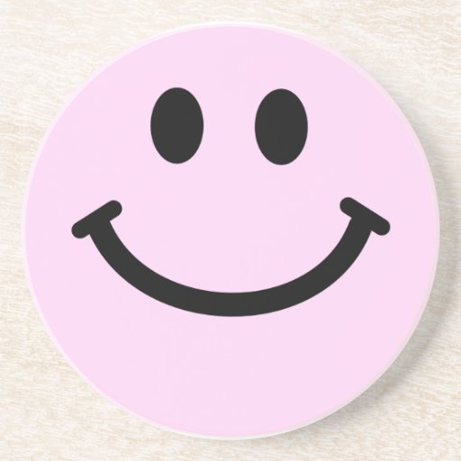 Pink smiley face drink coasters