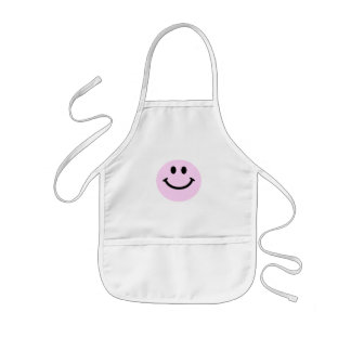 Pink smiley face kids' apron