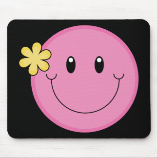Pink Smiley Face Mouse Pad