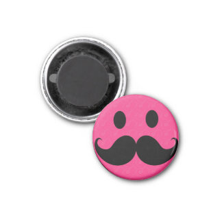 Pink Smiley Face Mustache Moustache Stache 1 Inch Round Magnet