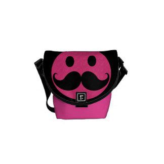 Pink Smiley Face Mustache Moustache Stache Messenger Bag