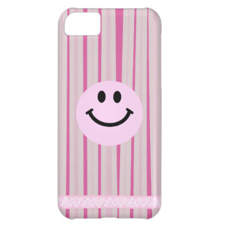 Pink smiley face on hot pink stripes iPhone 5C case