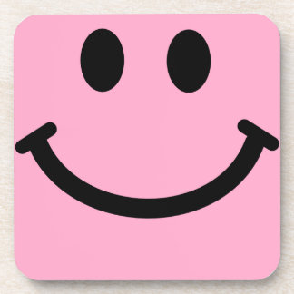 Pink Smiley Face Square Coaster