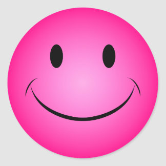 Pink Smiley Face Sticker