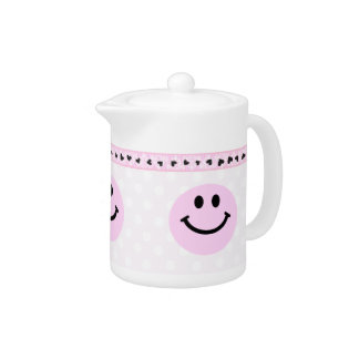Pink smiley face teapot