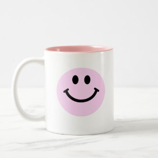 Pink smiley face Two-Tone coffee mug