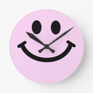 Pink Smiley Face Wall Clock