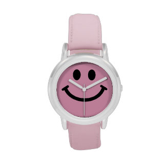 Pink smiley face wristwatch