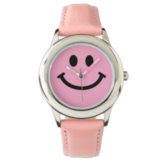 Pink smiley face wrist watch