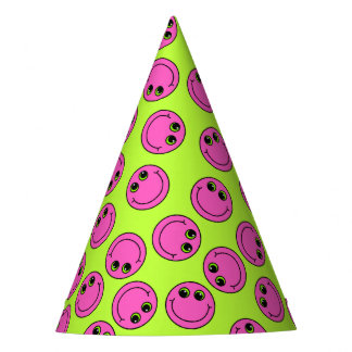 Pink Smiley Faces Party Hat